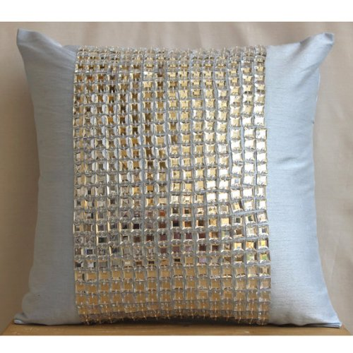 Bling - 14X14 Inches Square Decorative Throw Light Blue Silk Pillow Covers With Crystals front-1073075