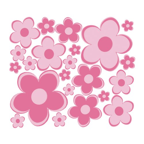Pink Fun Flowers Sm Retro Flowers Wall Sticker Decals - 1
