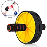Body Maxx Ab Wheel Total Body Fitness Workout - Cushioned Handles. Unisex With Free Mat