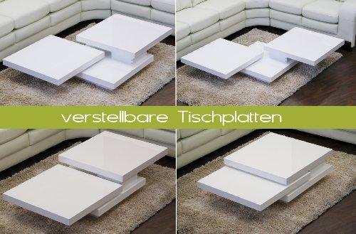 Couchtisch-CUBE-Hochglanz-Lack-Weiss-Loungetisch-Beistelltisch-Schwenkbar-Drehbar