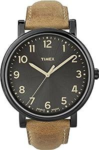 Timex - T2N677D7 - Timex Heritage Easy Reader - Montre Mixte - Quartz Analogique - Cadran Noir - Bracelet Cuir Marron