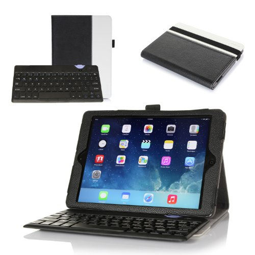 Procase Apple Ipad Air Keyboard Case - Premium Muti-Angle Stand Leather Smart Cover With Ultra Slim Magnetically Detachable Bluetooth Keyboard (4Mm) For Ipad Air / Ipad 5, Bonus Stylus Pen Included (Brown/Black) front-654312