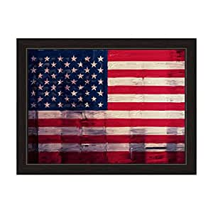 Hand painted textured american flag framed for Painted american flag wall art
