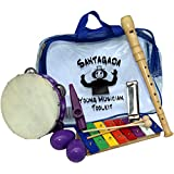 Young Musician Toolkit - Xylophone, Recorder, Tambourine, Harmonica, Kazoo, Two Egg Shakers - Quality Musical Instruments for Kids + Convenient Carrying Case