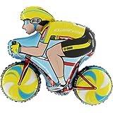"3 x 34"" Yellow Cyclist Foil Balloon"
