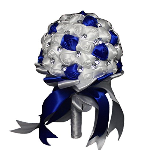 Hand Made Rose Satin Ribbon Bridal Wedding Bouquet For Bridesmaid Or Flower Girl Holding Flowers Royal Blue White 18CM