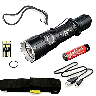 BUNDLE: Klarus Improved XT11S LED Compact Tactical Rechargeable Flashlight, Rechargeable 18650 Battery, USB Charging Cable, Lanyard, Holster, Pocket Clip, and USB Mini Light from Klarus
