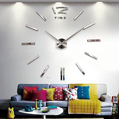 Baytter-Design-Wand-Uhr-Spiegel-Wandtattoo-Dekoration-Zahlen-XXL-3D-Brouhr-fr-Wohnzimmer-Schlafzimmer-Handarbeit-DIY-geruschfrei-silber
