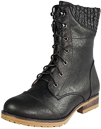 Refresh Womens Wynne-06 Combat Flat Style Lace Up Back Zipper Mid-Calf Bootie,Black,9 (Mudd Shoes compare prices)