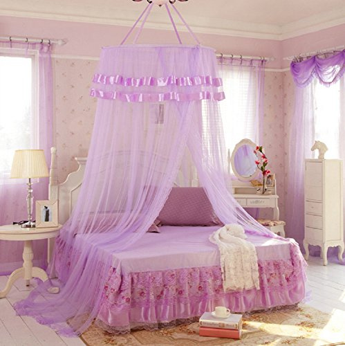 Yanseller 1 Pack Round Canopy Princess Bed Mosquito Net (Purple)