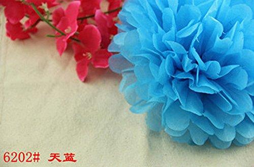 Y-BOA 5Pcs Fleurs En Papier Taille 20cm Mariage/Bal/Cocktail Fonctionnement Simple (Bleu Ciel)
