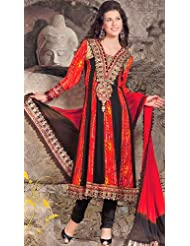 Exotic India Red And Black Flared Kameez Suit With Embroidery On - Red And Black