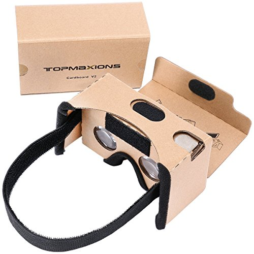 Google Cardboard,Topmaxions 3D VR Virtual Reality DIY Glasses For 3D Movies and Games Compatible with Android & Apple Up to 6 Inch Easy Setup Machine (3d Box compare prices)