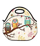 Soft Boys Girls Waterproof Insulated Neoprene Food Container School Office Travel Outdoor Work Lunch Bag Tote Cooler Lunchbox Handbag Food Storage Carrying Case (Cute Owls) HST-LB-146