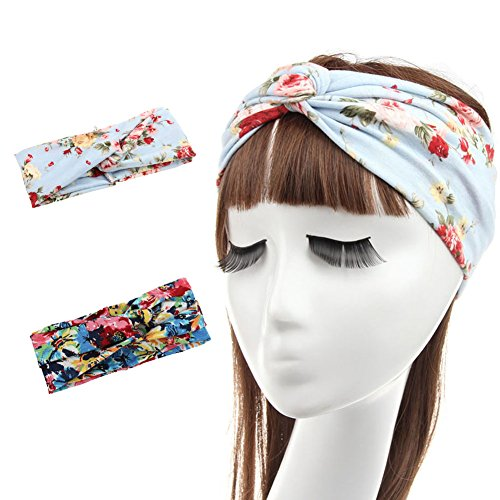 FAYBOX Women Fashion Flower Stretchy Fitness Headbands Twist Knotted Turban Headwrap Pack of 2