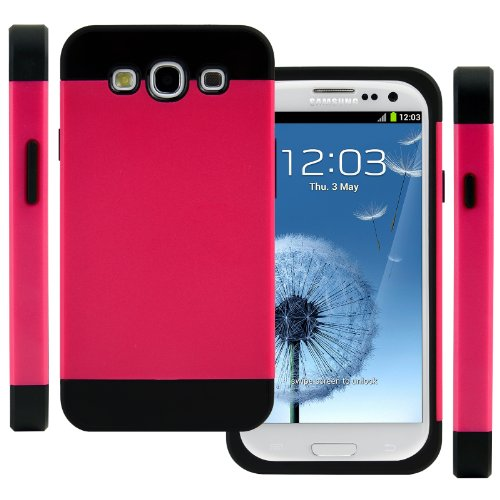 Celljoy Hybrid Tpu 2Pc Layered Hard Case Rubber Bumper For Samsung Galaxy S3 Siii (At&T / Verizon / Us Cellular / Sprint / T-Mobile / Unlocked) [Celljoy Retail Packaging] (Hot Pink / Black)