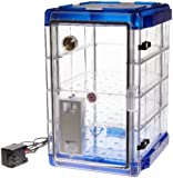"Bel-Art Scienceware 420741116 Clear Secador 4.0 Vertical Auto-Desiccator Cabinet with Blue End Caps and 3 Shelves, 120V, 13.4"" Width x 20.4"" Height x 16.3"" Depth"