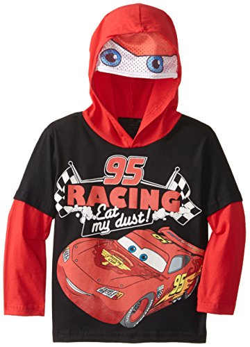 Disney Little Boys' Cars Hooded Top with Printed Mesh Mask
