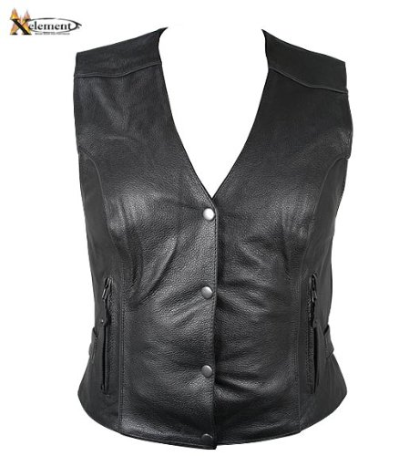 Xelement Womens Black Leather Motorcycle Vest