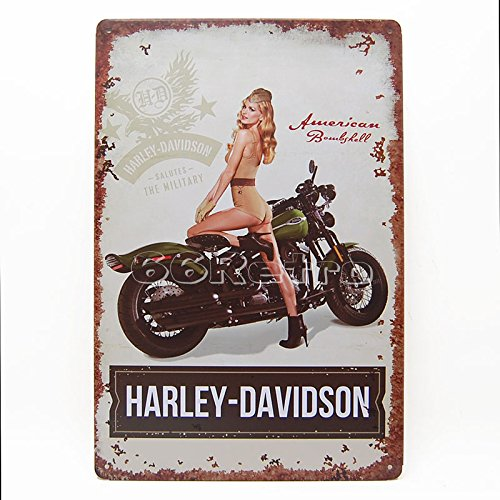 Harley Davidson the Military with Sexy Girl 1, Metal Tin Sign, Wall Decorative Sign By 66retro 0