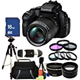Fujifilm FinePix HS50EXR Digital Camera Kit Includes .43x Wide Angle & 2.2x Telephoto Lenses, 3 Piece Filter Kit (UV-CPL-FLD), Close Up Lens Set (+1+2+4+10), 16GB Memory Card, Tripod, Case & More