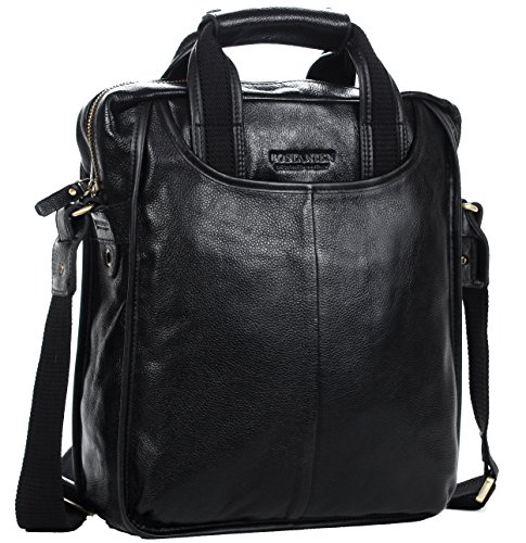 Men's Luxury Soft Leather Cowhide Tote Classic Briefcase Shoulder Messenger Cross Body (10.8