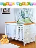 Tutti Bambini 3 Bears Dropside Cot Bed in White/Beech & Foam Safety Mattress