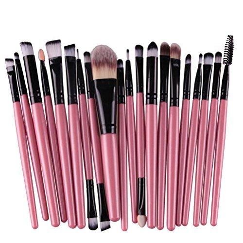 DDLBiz® 20 pc / trucco set insieme di spazzola strumenti Make-up da toeletta del corredo di lana trucco set di pennelli (nero)