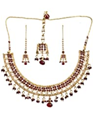Exotic India Faux Ruby Necklace Set With Cut Glass - Copper Alloy With Cut Glass