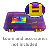 Rainbow Loom Storage/Organizer Case - Most Durable On The Go Model Loom Case (see images) , Pre-Assembled , Translucent Purple with Yellow Latches , Fits Rainbow Loom , 18 Adjustable Compartments , 3 Month Replacement Warranty , Superior Latches and Hinges - Made and Assembled in the U.S.A.