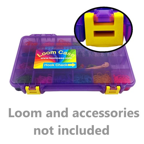Rainbow Loom Storage/Organizer Case - Most Durable 'On The Go' Model Loom Case (see images) , Pre-Assembled , Translucent Purple with Yellow Latches , Fits Rainbow Loom , 18 Adjustable Compartments , 3 Month Replacement Warranty , Superior Latches and Hin