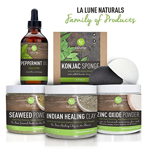 La Lune Naturals Activated Charcoal Konjac Cleansing Sponge • 2 SPONGES & FREE Suction Hook Included • FREE eBook!