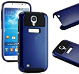 myLife (TM) Black and Navy Blue - Classic Tough Design (2 Piece Hybrid Bumper) Hard and Soft Case for the Samsung Galaxy S4