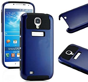 """myLife Black and Navy Blue - Classic Tough Design (2 Piece Hybrid Bumper) Hard and Soft Case for the Samsung Galaxy S4 """"Fits Models: I9500, I9505, SPH-L720, Galaxy S IV, SGH-I337, SCH-I545, SGH-M919, SCH-R970 and Galaxy S4 LTE-A Touch Phone"""" (Fitted Back Solid Cover Case + Internal Silicone Gel Rubberized Tough Armor Skin)"""