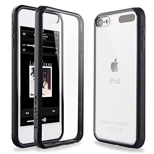 iPod Touch 6 Case, iPod Touch 5 Case, ENDLER [Fusion][CLEAR SLIM] Hybrid Premium TPU Bumper Scratch Resistant Hard Clear Back Panel Shock Absorption Case for Apple iPod Touch 5th 6th Gen (Solid Black) (Ipod Touch 5 Bumper Case compare prices)