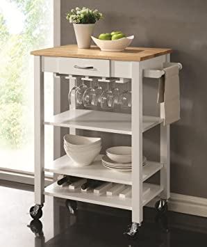 Amazing Chefs Helper white finish wood kitchen island cart with natural finish wood top and casters