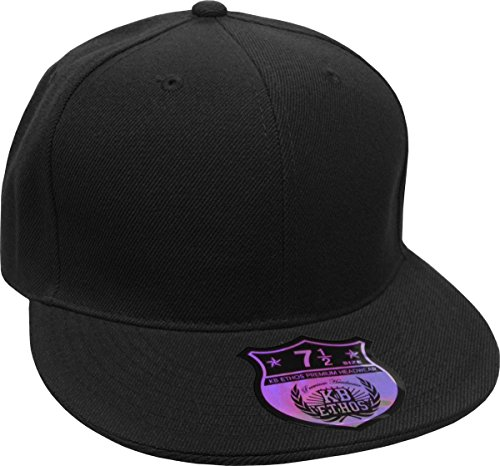 knw-2364-blk-8-the-real-original-fitted-flat-bill-hats-by-kbethos-true-fit-9-sizes-20-colors