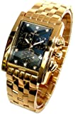 Oskar Emil Rodez Limited Edition 23ct Gold Plated 7 Diamond Gents Chronograph Watch with Black Dial