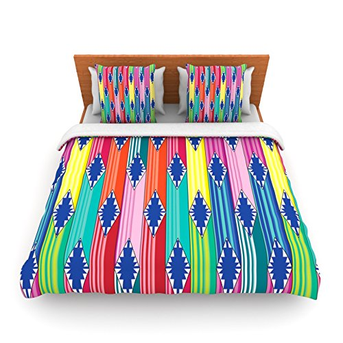 "Kess Inhouse Anneline Sophia ""Blanket"" Rainbow Tribal King Fleece Duvet Cover, 104 By 88-Inch"