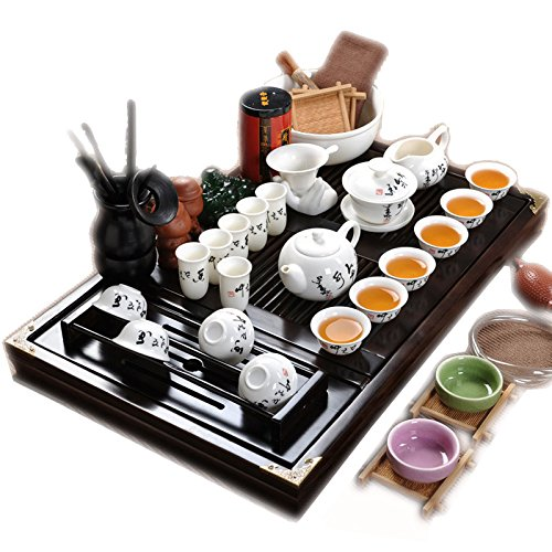 Bois plateau de thé en céramique Kung Fu Théière Service à thé-Blanc