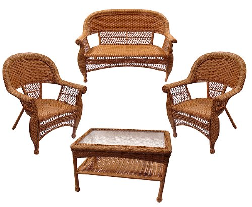 4-Piece Honey Brown Resin Wicker Outdoor Patio Set - Table, Loveseat and Chairs