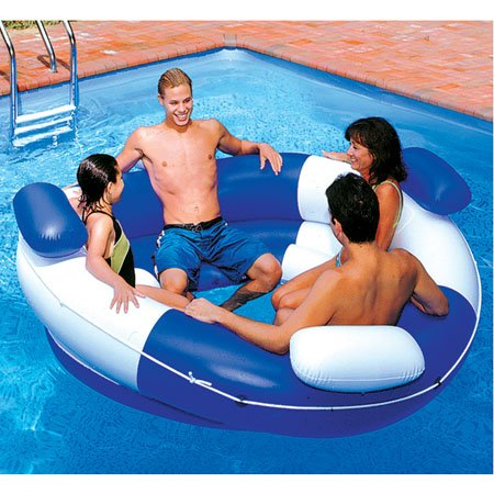 new inflatable floating island lounger multi seat swimming. Black Bedroom Furniture Sets. Home Design Ideas