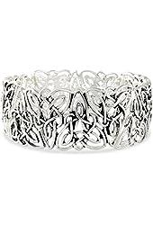 Celtic Trinity Knot Polished Silver Tone Triquetra Stretch Bracelet