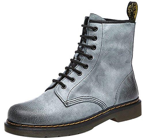 ELEHOT Donna EMARTIN tacco a blocco 3CM Leather Stivali, grigio DA, 40