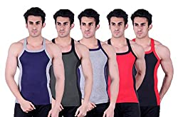Zimfit Superb Gym Vests - Pack of 5 (BLU_GRN_GRY_RED_BLK_90)