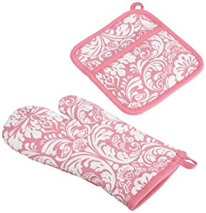 DII 100% Cotton, Machine Washable, Everyday Kitchen Basic, Damask Printed Oven Mitt and Potholder Gift Set, Pink