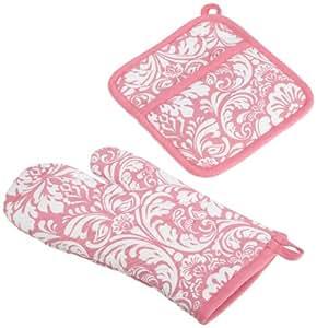 DII 100% Cotton, Machine Washable, Everyday Kitchen Basic, Damask Printed Oven Mitt and Potholder Gift Set, Pink