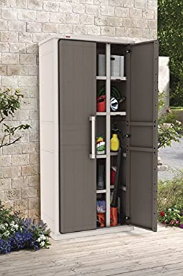 Keter Optima Wonder 4-Shelf Plastic Multi-Purpose Tall Cabinet, 80 cm x 47 cm x 187 cm