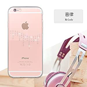"""Kingxbar [ Melody Series ] Bling Bling Ultra-thin Plating Tapered Swarovski Crystal PC Hard Back Case Cover for Apple iPhone 6 / 6S ( Transparent ) - 4.7"""""""