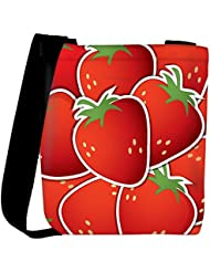 Snoogg Strawberry Sticker Background Card In Vector Format Womens Carry Around Cross Body Tote Handbag Sling Bags